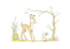 Ilustracion infantil ciervo y conejo