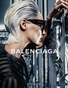 Model Daria Werbowy photographed by Steven Klein for Balenciaga's Spring/Summer 2014 Eyewear ad campaign, May 2014.