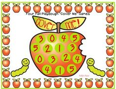 Four Fall Playdough Math Cover Me GamesThis is a set of 4 different cover me games. You can use dice … Color Word Activities, Apples To Apples Game, I Am Game, Math Games, Board Games, Dots, Fall, Marker, Cover