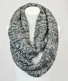 Another great find on #zulily! Black & White Marled Knit Infinity Scarf by Leto Collection #zulilyfinds