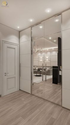 Photo design project of an apartment interior Moscow, Leninsky Prospect, building 105 sq. Wardrobe Door Designs, Wardrobe Design Bedroom, Closet Designs, Bedroom Decor, Mirror Closet Doors, Modern Closet Doors, Closet Wall, Front Closet, Sliding Wardrobe Doors