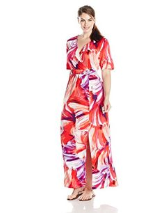 nice NY Collection Women's Plus-Size Printed Elbow Sleeve Surplice Maxi Dress