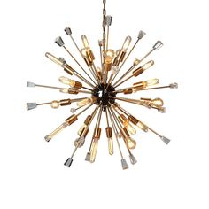 Brighten your home with this golden chandelier. The unique starburst design of lights and crystals adds a futuristic look that's perfect for modern and art deco styles. Constructed from steel and UL listed, it's as durable as it is beautiful Sputnik Chandelier, Chandelier Lighting, Pendant Lights, Chandeliers, Theodora Home, Light Bulb Bases, Shape Coding, Led, Modern