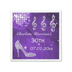 Purple Disco Ball and Sparkle Heels 30th Disposable Napkins Personalized, elegant custom 30th birthday party serviettes for women with glitz and glamour. Beautiful purple, lilac / lavender and white serviettes for women with a funky retro disco mirror ball, glamorous printed image rhinestone glitter, seq...read more