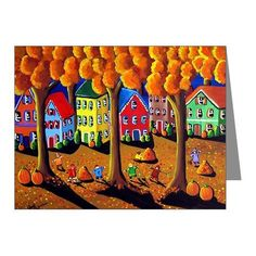 Fall Autumn Kids Rake Leaves Whimsical Folk Art Fun Blank Note Cards Pk of 10 via Etsy