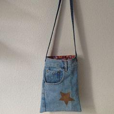 Pochette sac bandoulière jean et coton fleuri : Sacs bandoulière par nany-made