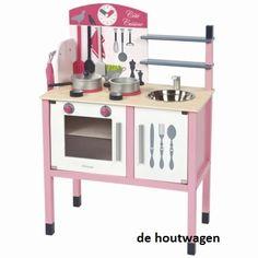 janod houten keukentje roze