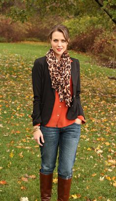 orange / black blazer / brown boots / leopard scarf / outfit // member Kimberly of Penny Pincher Fashion