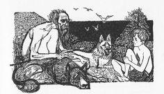 Charles Keeping illustration for Warrior Scarlet. Click on image to ENLARGE.
