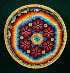 Huichol Indian Art Glass Beaded Sacred Prayer Bowl #26NEW Jalisco, Mexico