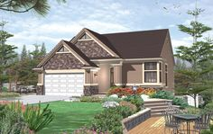 Charming 3 bedroom cottage style home with vaulted ceilings throughout.  House Plan # 441084.