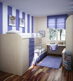 kinderzimmer-lila linien an der wand hochbett für mädchen - Kinderzimmer Einrichtung – 29 auffällige Ideen
