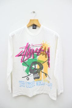 a12d721a948 Vintage STUSSY The Stussy World Tribe White Long Sleeve Tee T Shirt Size M