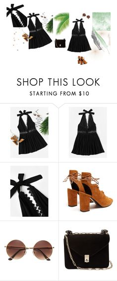 """""""Halter Neck Lace Trim Hollow Out Dress"""" by manonth on Polyvore featuring mode, Yves Saint Laurent en Valentino"""
