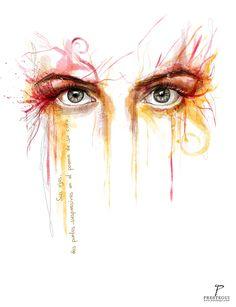 """Un pequeño poema que me encantó para ilustrarlo, que su tarde dominical este llena de poesía. """"Sus ojos, dos puntos suspensivos en el poema de su cara¨ -Alfonso Orantes- #illustration #poem #portrait #eyes #ojos #retrato #ilustracion #watercolor #acuarela #mixedmedia #photoshop"""