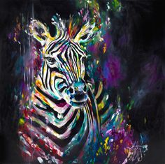 Katy Jade Dobson 'Spectrum Zebra' Oil Painting - The Spectrum Collection