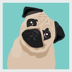 Square Pug Art Print Blue - Modern Simple Digital Art Gift Dog Print