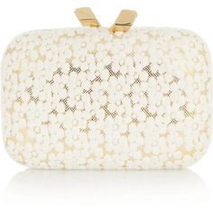 Kotur Margo floral-lace box clutch (6 580 UAH) ❤ liked on Polyvore featuring bags, handbags, clutches, purses, bolsas, accessories, floral print purse, white purse, chain handle handbags and floral purse