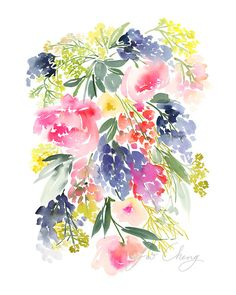 Meadow Watercolor Art Print от YaoChengDesign на Etsy