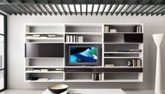 20 Contemporary Living Area Wall Units for Book Storage from Misuraemme: 20 Modern Living Room Wall Units With White Grey Wall Wooden Books Storage LED TV Cabinet Ceramic Floor Living Room Shelves, Modern Shelf, Living Room Wall Units, Modern Wall Units, Bookcase Design, Modern Room, Living Room Wall, House Living Room Modern, Wall Unit