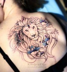 Gorgeous lion back piece by Olga Koroleva