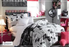I want the bed cover, with hot pink sheets and different through pillows.
