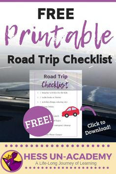 Free printable road trip checklist for your next fammily road trip packing list Road Trip Checklist, Road Trip Packing, Road Trip Hacks, Road Trips, Road Trip With Kids, Travel With Kids, Family Travel, Audio Books For Kids, Alternative Education