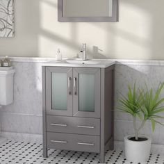 Karson 24 Single Bathroom Vanity Set With Mirror for sizing 2000 X 2000 24 Single Bathroom Vanity Set - Bathroom sets happen to be accessories which might 24 Inch Bathroom Vanity, 24 Vanity, Vanity Set With Mirror, Vanity Sink, Bathroom Sets, Bathroom Vanities, Master Bathroom, Bathroom Canvas, Bathroom Cabinets