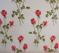1940's Vintage Wallpaper long stem red roses by HannahsTreasures, $14.00