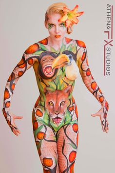 Bodypainting Jungle Animals By Athena Zhe