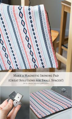 Great space-saving solution for small laundry rooms! This DIY magnetic ironing pad fits right over my dryer, giving me a space to iron and a nice spot to fold clothes! Ironing Pad, Fold Clothes, Laundry Design, Small Laundry Rooms, Simple Living, Dryer, Space Saving, A Table, Small Spaces
