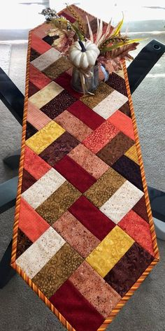 Fall Table Runner, Quilted Table Runner, Narrow Table Runner, 11 x 39 - quilt patterns Patchwork Table Runner, Table Runner And Placemats, Crochet Table Runner, Fall Table Runner, Quilted Table Runner Patterns, Quilted Table Runners Christmas, Crazy Quilt Blocks, Quilt Block Patterns, Pattern Blocks