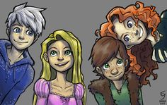 Rapunzel merida hiccup jack frost the big 4 sketchexperiment ...