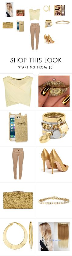 """""""Glitter Gold"""" by snickerdoodle1201 ❤ liked on Polyvore featuring Marc by Marc Jacobs, Kate Spade, Henri Bendel, Barbour, Gianvito Rossi, Halston Heritage and Ross-Simons"""