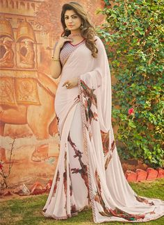 Experience the online shopping for indian traditional saree. Order this astonishing print work multi colour casual saree.