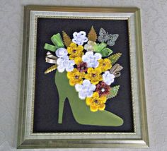 Mixed media art, shoeful of flowers, framed
