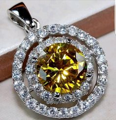 5CT Yellow Sapphire & White Topaz 925 Solid Sterling Silver Pendant - Gem Artistry, LLC
