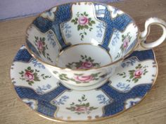 vintage tea cups and saucers/aynsley | Antique Aynsley china tea cup and saucer set, vintage English tea cup ...