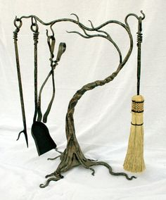 Fireplace tools wind swept tree by Earth Eagle Forge