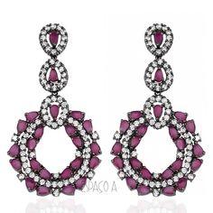 Brinco Cairo Semi Joia Com Pedras Pink e Zirconias Rubi Folheado Rodio Negro ( semijoias semi joia bijuteria fina online bijoux)