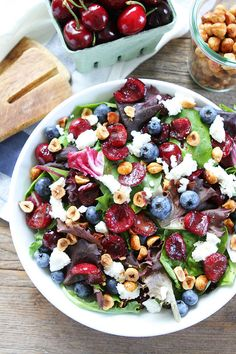 Balsamic Grilled Cherry, Blueberry, Goat Cheese, and Candied Hazelnut Salad   31 Delicious Things To Cook In July