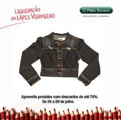 Jaqueta Jeans com Laço de Onçinha, de R$ 84.95 por R$ 69.95 na Alphabeto do @meupatiosavassi. #LLV