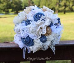 denim, lace, doily, burlap, and pearl bridal bouquet by GypsyFarmGirl