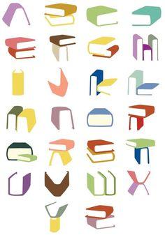 over lezers ,boeken ,letters en cijfers: alfabet met boeken