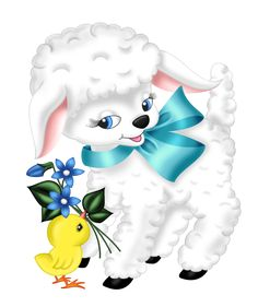 Transparent Easter Lamb and Chicken PNG Clipart Picture