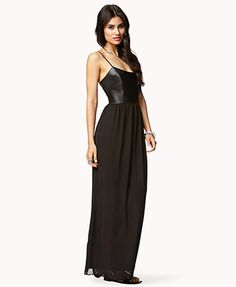 Faux Leather Chiffon Maxi Dress | FOREVER21