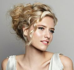 curly updo - great face framing curl and highlight