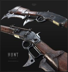 The Winfield Model 1873 The Winfield was the very first weapon I had the chance to work on for Hunt and was created back in 2015 years ago ). It served as a reference point for the Art-Direction in regards to the equipment and the weapons of Hunt Steampunk Weapons, Zombie Weapons, Sci Fi Weapons, Weapon Concept Art, Weapons Guns, Fantasy Weapons, Guns And Ammo, Armas Wallpaper, Lever Action Rifles