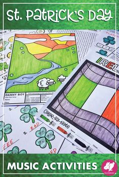 This St. Patrick's Day music worksheets, printables, & games set has great activities for elementary/general music class lessons as well as band, orchestra, and piano students. These St Patty's Day printables are great for the sub tub because there are theory colouring sheets, color by note (US & UK, treble clef, bass clef, alto clef), answer keys, a word search, games for centers, a St Patricks Day listening glyph, differentiated rhythm addition pages, note spelling, and 1-2 sound…