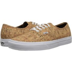 Vans Authentic ((Cork) Tan/True White) Skate Shoes ($31) ❤ liked on Polyvore featuring shoes, sneakers, beige, beige shoes, tan sneakers, lightweight sneakers, beige sneakers and white shoes